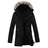 BTFL Winter Warm Fleece Parka Dreadnought Trench Jacket Duffle Coat