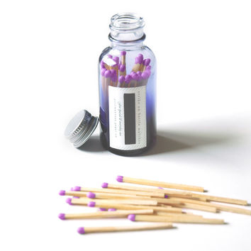 Violet Bottle Matches - Purple Ombré Glass Jar - Luxury Colored Matches - Strike on Bottle - Pair with a Candle - Light a Pretty Spark