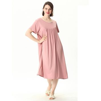 Comfortable Short Sleeve Home Loose Solid Nightgown
