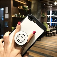 BROTOLA With Round Pop Phone Holder Dust Plug Case For iphone 6 Case TPU Smooth Soft Back Cover For iphone 6 6s 7 8 Plus Capa