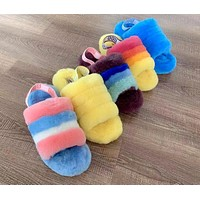 UGG Tide brand female models personality wild plush slippers shoes