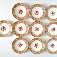 W. H. Grindley China Plates, Saucer Set, Earthenware Plates, Tea Party Plates, Pink Floral China, Set of Plates, Teacup Saucers