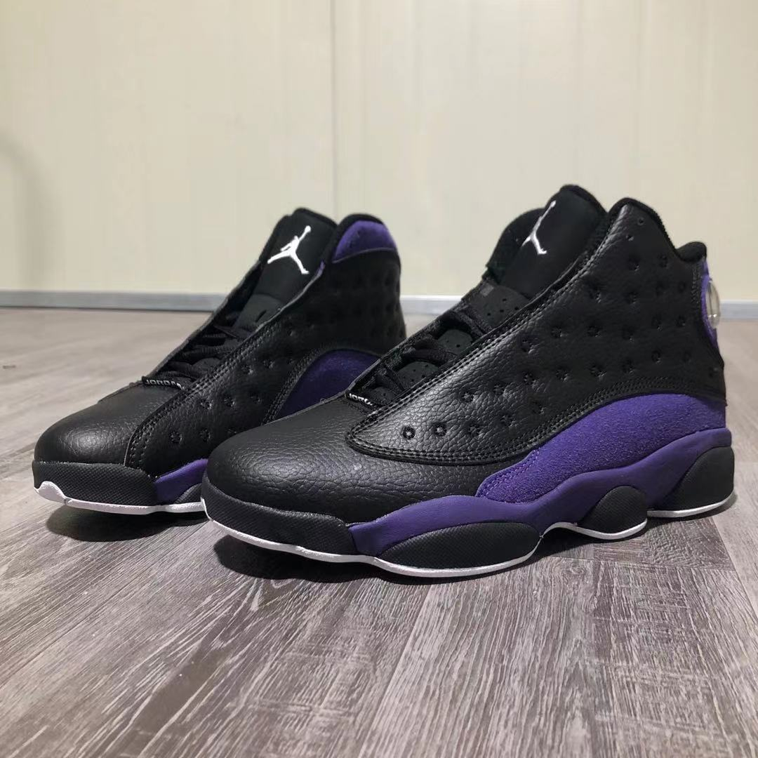 Image of Nike AIR Jordan 13 AJ13 black and purple fashion men's and women's high-top basketball shoes sneakers