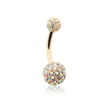 Golden Pave Diamond Full Dome Cluster Belly Button Ring 14ga Navel Ring Body Jewelry
