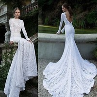 New White Ivory Wedding Dress Prom Gown Evening Formal Party Cocktail Lace Dress