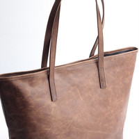 Waxed Leather Tote Bag in Olive Brown THE JAIMEE