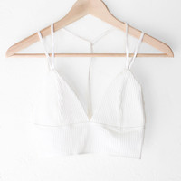 Knit V-neck Crop Top