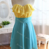 Two different colors ruffle chiffon cocktail dress ,short prom dress,Homecoming dress