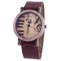 Juice Action Unisex Vintage Retro Piano Music Notes Leather Wrist Watch Brown