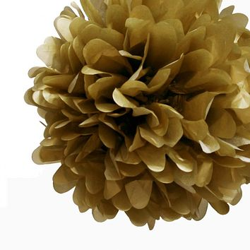 """BLOWOUT EZ-Fluff 8"""" Gold Tissue Paper Pom Pom Flowers, Hanging Decorations (4 PACK)"""
