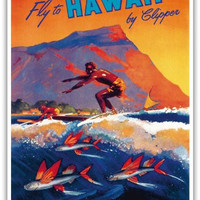 Fly To Hawaii by Clipper - Pan American World Airways (PAA) - Hawaiian Surfer and Flying Fish in front of Diamond Head Crater - Vintage World Travel Poster by Mark Von Arenburg c.1940s - Hawaiian Master Art Print - 13 x 19in
