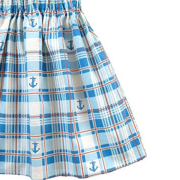 Anchor Skirt, Nautical Skirt, Sailor Skirt - Girls Clothing - Toddler Girls Skirt - Plaid Skirt - Free Shipping