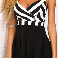 Striped Back Zippered Pleated Romper