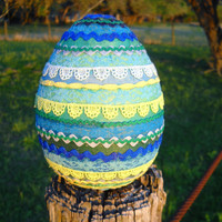 Spring SALE - colorful fabric collage egg and stand - vintage lace trim, scallop trim, rick rack - large size egg - one of a kind!