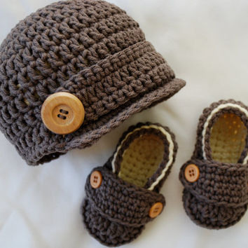 Baby Boy, Newsboy Hat and Loafer Booties Set in Taupe & Almond, Baby Boy Clothes, Baby Boy Photo Prop, Baby Boy