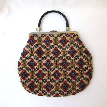 Vintage 1950s 1960s large tapestry and glass bead handbag