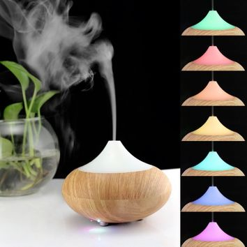 Infiland Ultrasonic Humidifier Air Purifier Aroma Diffuser, Mini Electric Aromatherapy Essential oil Diffuser Whisper-Quiet Cool Mist Humidifier Auto Shut Off---Light Brown