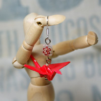 Hand Folded Red Origami Crane Earrings with Millefiori Bead Accent Great Gift Idea