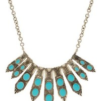 Silver Turquoise Spike Collar Necklace by Charlotte Russe