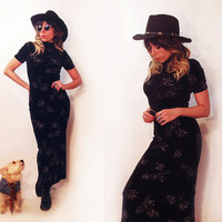Vintage 90s  Black Velvet Gypsy Glam Glitter Maxi Dress || Size Small to Medium Grunge Witchy Goth Maxi Cocktail Dress