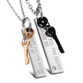 "NEW Fashion  2PCS His and Hers Titanium Steel  Key CZ Pendant With ""THANK YOU FOR BEING BESIDE ME"" Phrase, Link Chain Necklace Set With Silver Chain Couples Jewelry Valentines Gifts"