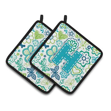 Letter H Flowers and Butterflies Teal Blue Pair of Pot Holders CJ2006-HPTHD