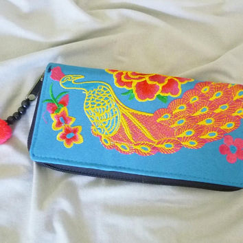 Bird wallet Peacock flower wallet with zip pom pom /Embroidered Wallet /Hmong wallet/ Tribal purse