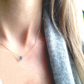 Tiny Gem Necklaces in Gold