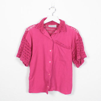 Vintage Pink Shirt Sheer Crochet Mesh Netting Blouse Raspberry Pink 80s Button Down Shirt 80s New Wave Top Macrame Knit Top S Small M Medium