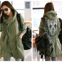 Hot Sell Fashion Women's Skull Embroidery Hooded Waisted Trench Coat Army Green Outerwear Jacket Free Size = 1930514116