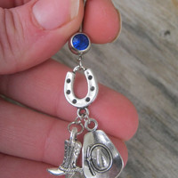 Country Western Belly Ring, Horseshoe Belly Ring, Cowboy Hat Belly Button Ring, Cowboy Boot, Good Luck, Barrel Racing, Cowgirl Up