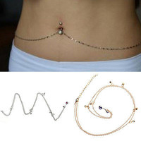 Crystal Navel Belly Button Ring With Waist Chain Body Piercing Lady Jewellery