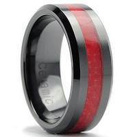 8MM Flat Top Men's Black Ceramic Ring Wedding Band With Red Carbon Fiber Inaly Size 13