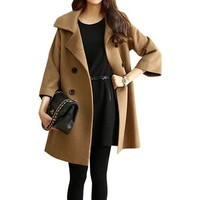 LookbookStore Autumn Causal Camel Fuzzy Pockets Pea Women's Coat