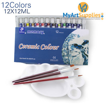 Acrylic Paint for Ceramics & Glass 12 Colors 12ml Tubes