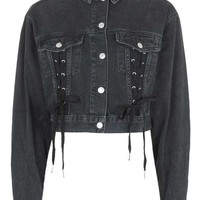 MOTO Lace up Crop Jacket - Jackets & Coats - Clothing