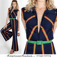 vintage 70s Navy Striped Maxi Disco Bell Bottom Draped Pants Cocktail Party Jumpsuit