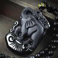 Manual sculpture natural obsidian elephant pendant  black stone necklace Fine jade jewelry For  men  rope Fashion