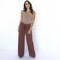 Out & About High Waist Dress Pants in Rust