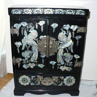 Gift For Her Jewelry Box, Japanese Black Lacquer Jewelry Holder, Jewelry Box Chest
