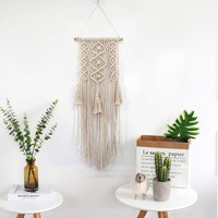 Macrame Wall Handmade Cotton Hanging Tapestry with Lace Fabrics Bohemian Office Decor
