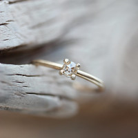 Delicate Rose Cut Diamond Engagement Ring Yellow Gold Crown - Petite Couronne