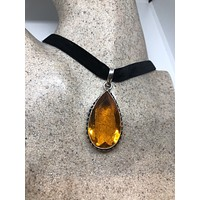 Amber Handmade Gothic Styled Silver Finished Genuine Facetted Antique Volcanic Glass Choker Necklace