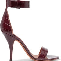 Givenchy - Sandals in burgundy croc-effect leather