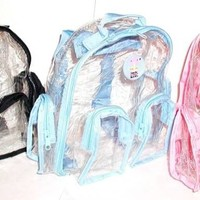 LOT OF 3 baby blue  BLUE New TRANSPARENT CLEAR SEETHRU Small Backpack bag tote