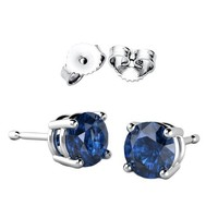 STERLING SILVER Solid Basket Setting Round Stud Earrings. 2 Carat Total Weight. 1 Carat Each Stone. Sapphire
