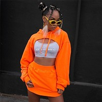 Casual Two Piece Set Skirt and Top Set 2018 New Fashion Streetwear Cropped Hoodie Set Woman Tracksuit Hoodies D66-AE-65