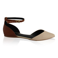 """Pointer"" Pointy Toe Ankle Strap Flats - Camel"