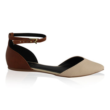 """""""Pointer"""" Pointy Toe Ankle Strap Flats - Camel"""