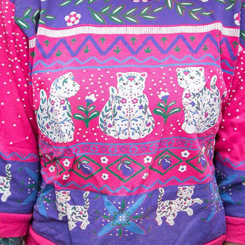 VINTAGE 1980's Kawaii Cat Sweater